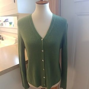 COUNTRY SHOP 100% Cashmere Ribbed Cardigan Sweater